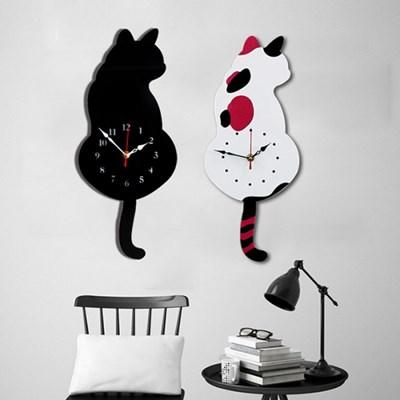 갓샵 꼬리가 흔들흔들 고양이벽시계 무소음벽시계 거실 벽걸이시계
