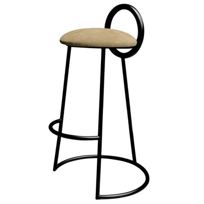 Hoop Bar Stool _ Brown gold (Matt black frame)