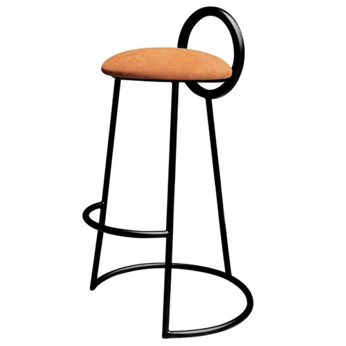 Hoop Bar Stool _ Orange (Matt black frame)