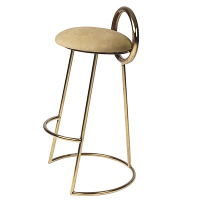 Hoop Bar Stool _ Brown gold (Gold frame)
