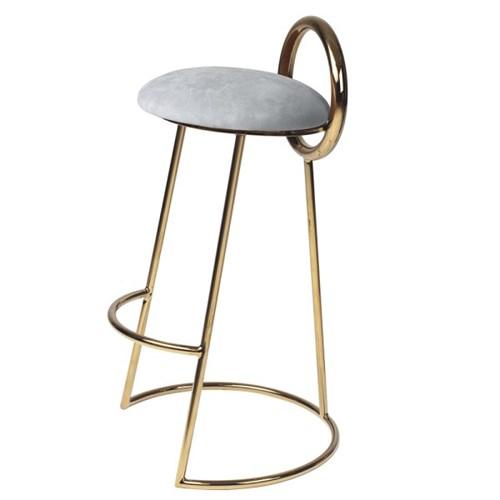Hoop Bar Stool _ Light gray (Gold frame)