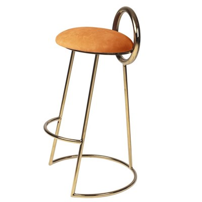 Hoop Bar Stool _ Orange (Gold frame)