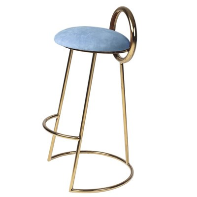 Hoop Bar Stool _ Sky (Gold frame)