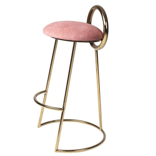 Hoop Bar Stool _ Pink (Gold frame)