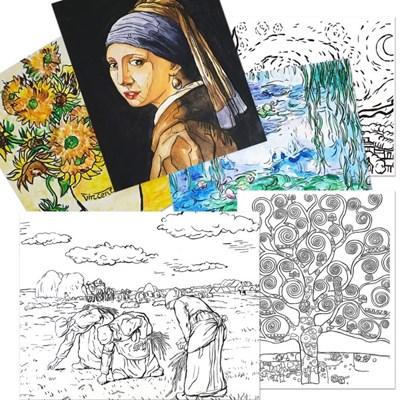 [아티바바] 명화 캔버스보드 도안/해바라기그림/DIY명화그리기