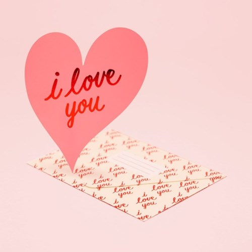I LOVE YOU HEART CARD - PINK