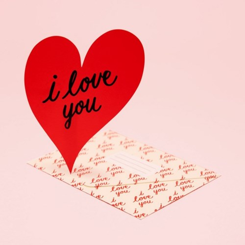 I LOVE YOU HEART CARD - RED