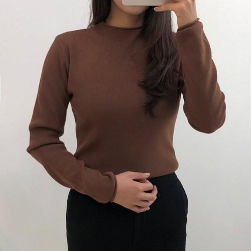 에일 여성 기본 하프넥 반목 니트 티셔츠