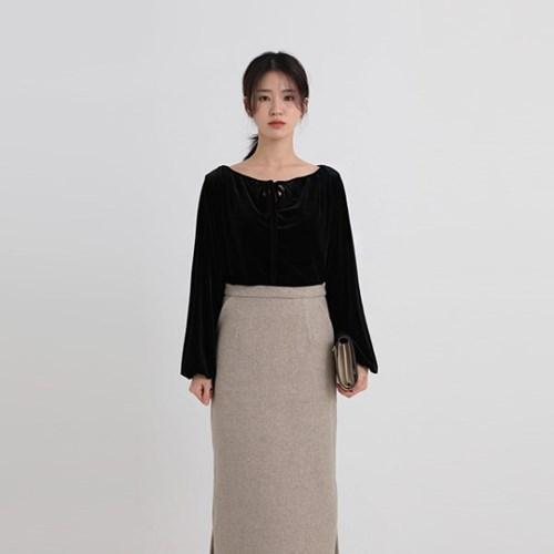 velvet strap blouse (2colors)