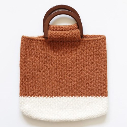 brown knit totebag