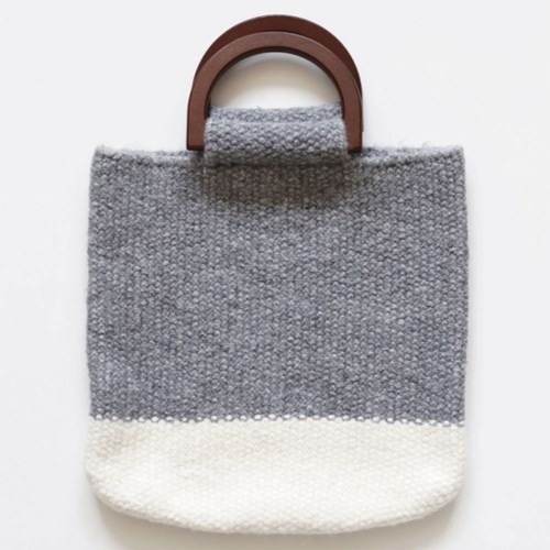 mustard knit totebag