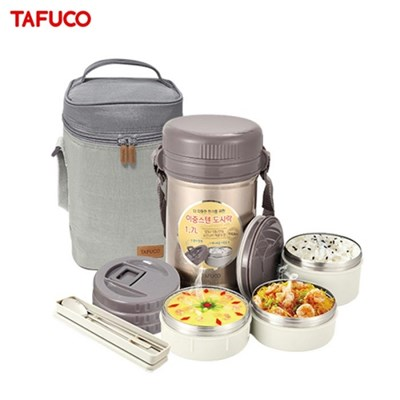 타푸코TAFUCO 일체형 이중스텐 보온도시락 1.7L /TIDD-1700