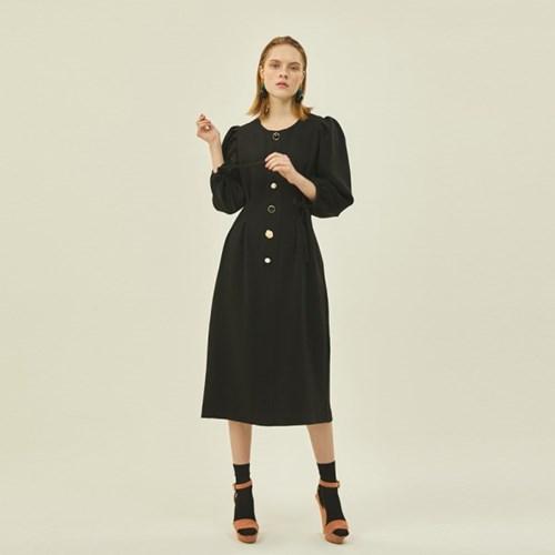 Puff Pintuck Dress in Black