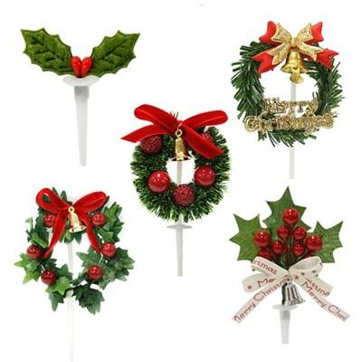 크리스마스케익장식 화엽 50개묶음 5종중택1
