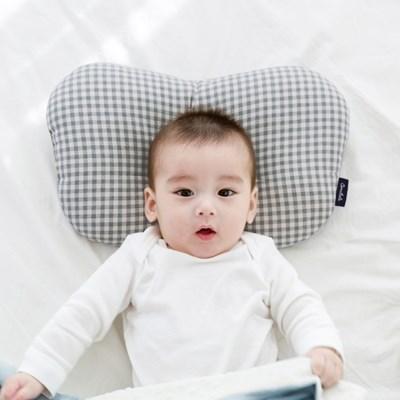 코니테일 아기 짱구베개 - 그레이체크(유아 신생아베개 이탈방지)