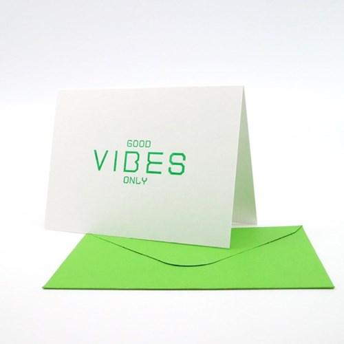 Good Vibes Only 굿바이브 화이트 레터프레스 카드