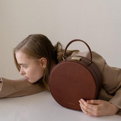 [Tammy & Benjamin]hat box bag brown/라운드 백 브라운