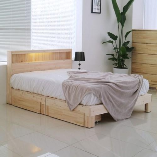 편백나무 원목 평상형 LED 조명 서랍 침대 퀸사이즈