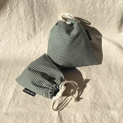 초록 체크 파우치(Green check pouch)