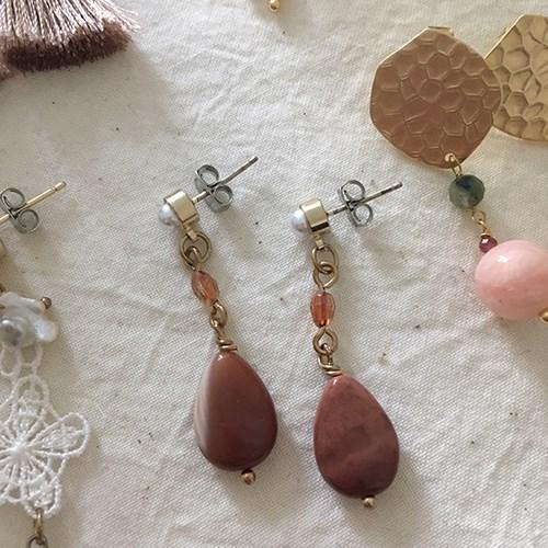 브라운 장미 원석 귀걸이