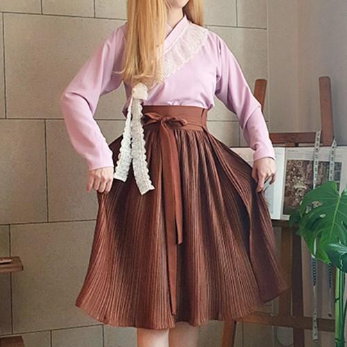 [다함] 세라 저고리 + 플리츠 허리치마 한복 세트