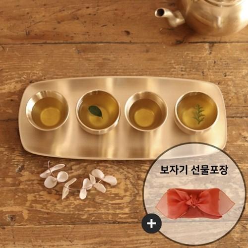 놋담 유기 달&꽃잎술잔 4P세트(보자기선물포장-노방/랜덤)