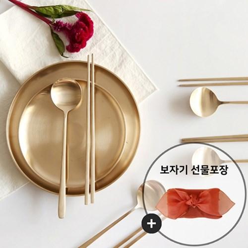 놋담 유기 달수저 4인세트(보자기선물포장-노방/랜덤)