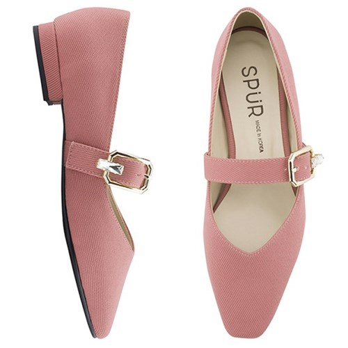 SPUR[스퍼] 플랫 OS9014 Jewel buckle maryjanes 코랄