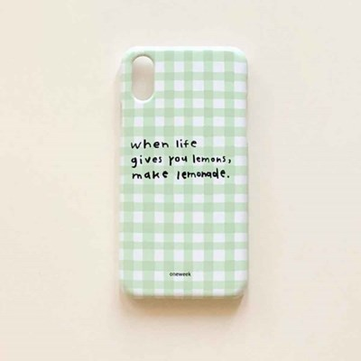 Lemonade case - yellow green check