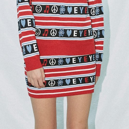 EMOTICON STRIPE MIXED EYEYE KNIT MINI SKIRT_RED (EEON1SKR01W)