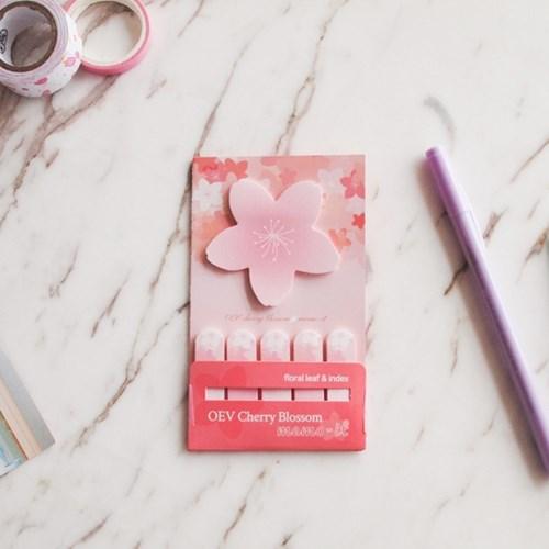 오동에발레리 벚꽃 점착 메모잇 (꽃잎, 인덱스)