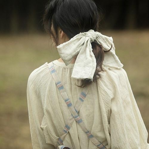 린넨 리본 헤어핀 : Linen ribbon hairpin [2colors]
