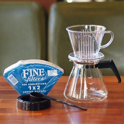 [알럽커피] 커피두콩 투명드립세트 (투명+필터+유리서버)