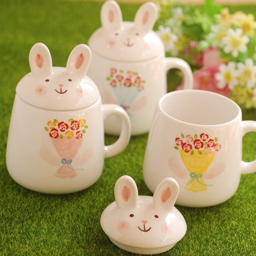 토끼 뚜껑머그(장미꽃다발)