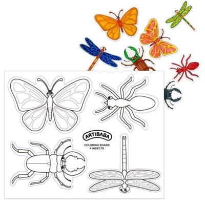 [아티바바] 곤충 4종 색칠보드/색칠 공부 칼라링북_(932649)
