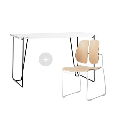 듀오백 바인츠 화이트테이블+슬림체어세트(책상+의자)_(602706443)