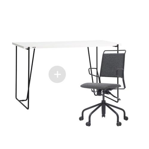 듀오백 바인츠 화이트 테이블+라움체어 책상 의자세트_(602706431)
