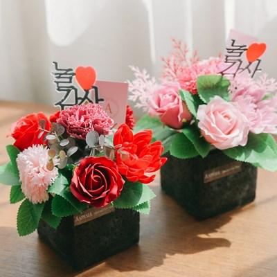 [쇼핑백+메세지픽증정]피나 산호초가지와 카네이션 비누꽃 센터피스