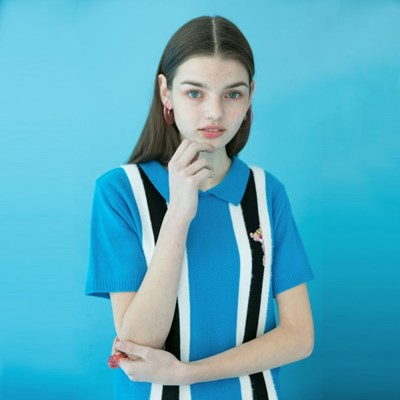 [SS19 Pink Panther] Stripe Collar S/S Knit(Blue)_(673245)