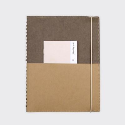 (만년형) Half Diary L - Deep brown/Yellow ocher