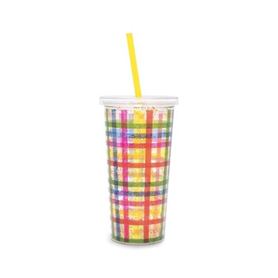 DELUXE SIP SIP TUMBLER WITH STRAW - BLOCK PARTY (텀블러)