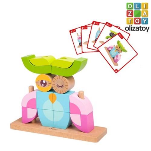 원목 부엉이 유니 블럭 퍼즐 유아 장난감 교구