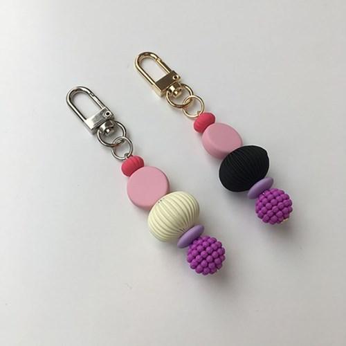 black&white pink keyring