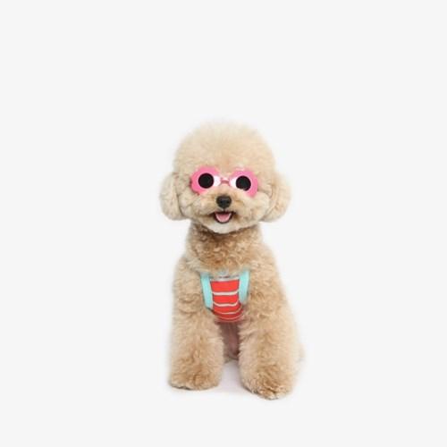 강아지 끈나시 티셔츠 (오렌지)