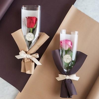 장미한송이에 담긴 사랑 로즈 한송이꽃다발 생화[세트상품]