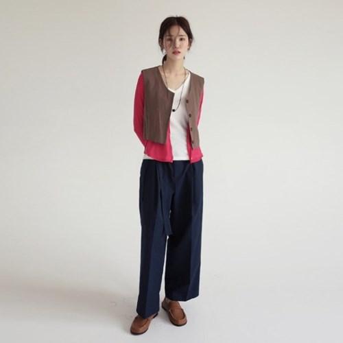 cozy short linen vest (2colors)_(1232871)