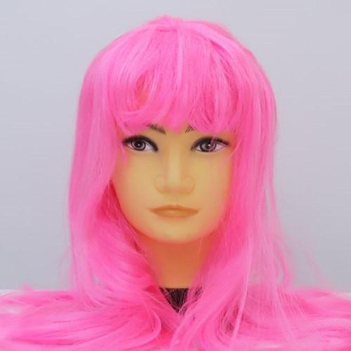 긴 생머리 가발 (핑크)_(301693446)