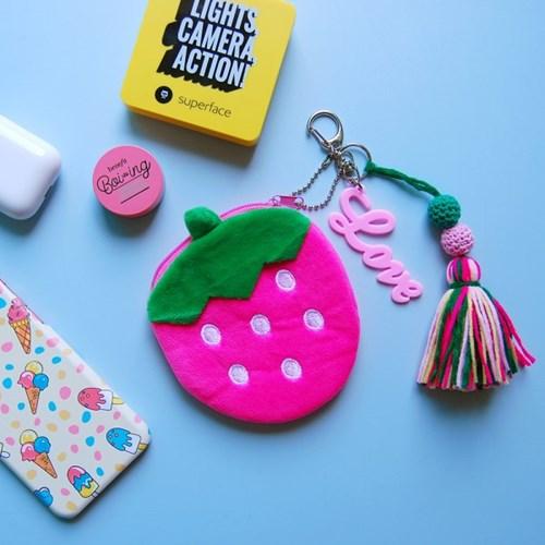 토이 키링-딸기 동전 카드지갑