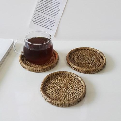 라운드 라탄 코스터 라탄 컵받침
