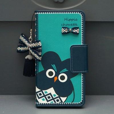 갤럭시S9플러스 (G965) HippieChouette-Blue 지갑 다이어리 케이스
